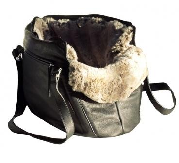 950761e5a821b Hundetasche echtes italienisches Nappaleder schwarz mit Wintereinsatz